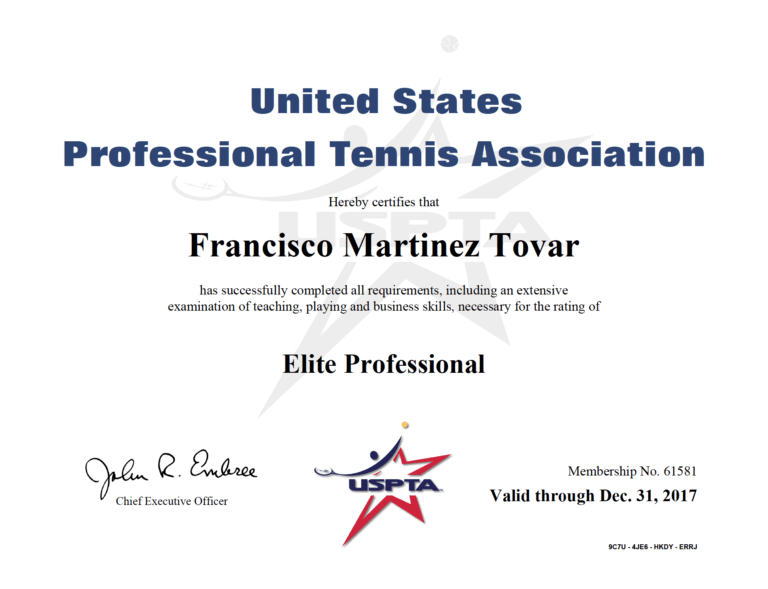 Certifications | Mar Tennis